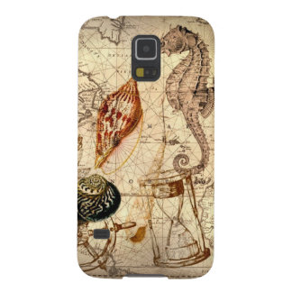 Botanischer Seashell Seepferd der Küstenseekarte Galaxy S5 Hülle