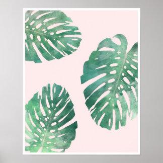 Botanisches rosa und grünes monstera Blattplakat Poster