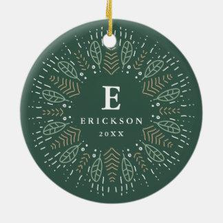 Botanisches Wreath-Feiertags-Monogramm u. Foto Rundes Keramik Ornament