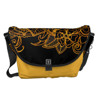 Bote-Taschen-Blumengekritzel-Gold G523 Kurier Tasche