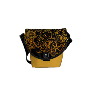 Bote-Taschen-Blumengekritzel-Gold G523 Kurier Taschen