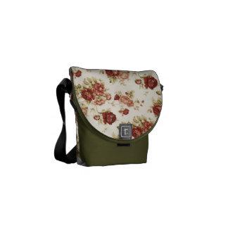 Bote-Taschenbordeaux-Moos-Rosen Kurier Taschen