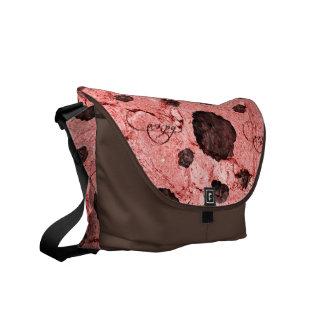 Bote-Taschenbraunsteinrosa-Rosen-Blumennatur Kuriertasche