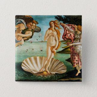 BOTTICELLI - Die Geburt von Venus 1483 Quadratischer Button 5,1 Cm