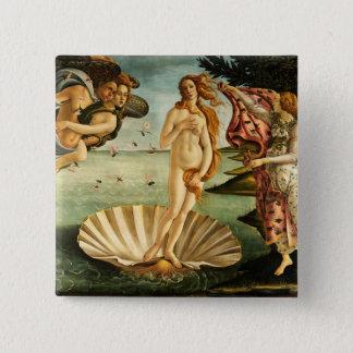 Botticelli Geburt der Venus-Renaissance-Vintagen Quadratischer Button 5,1 Cm