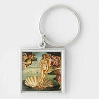 Botticelli Geburt der Venus-Renaissance-Vintagen Silberfarbener Quadratischer Schlüsselanhänger