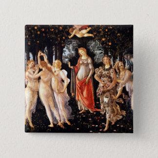 BOTTICELLI - Primavera 1482 Quadratischer Button 5,1 Cm