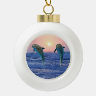 Bottlenose-Delphin am Sonnenaufgang Keramik Kugel-Ornament