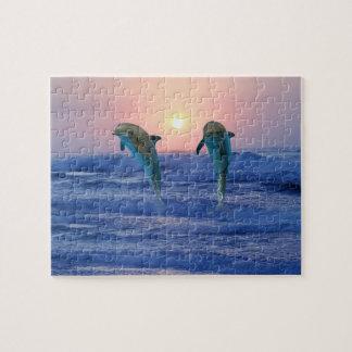 Bottlenose-Delphin am Sonnenaufgang Puzzle