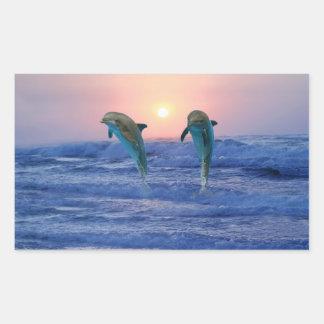 Bottlenose-Delphin am Sonnenaufgang Rechteckiger Aufkleber