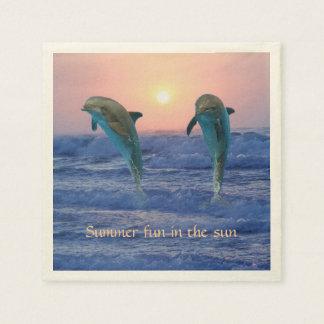Bottlenose-Delphin am Sonnenaufgang Servietten