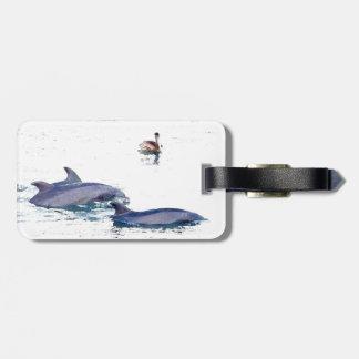 Bottlenose-Delphin-Tier-Tier-Ozean Gepäckanhänger