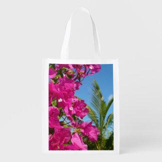 Bouganvilla-und Palme-tropische Natur-Szene Wiederverwendbare Einkaufstasche