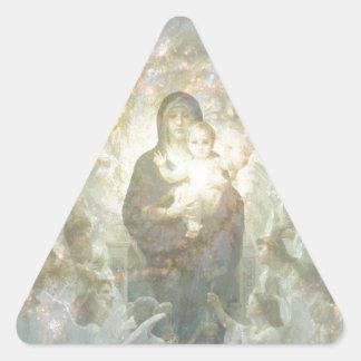 Bouguereau die Jungfrau mit Engeln Dreieckiger Aufkleber