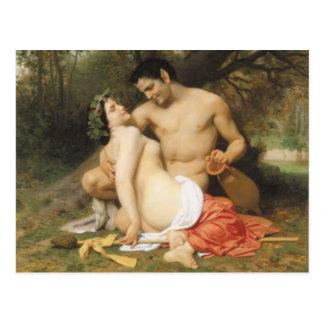 Bouguereau - Faune und Bacchante Postkarte