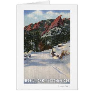 Boulder, Colorado - Flatirons im Winter Karte