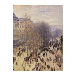 Boulevard-DES Capucines durch Claude Monet, schöne Holzleinwand