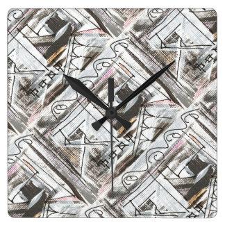 Boulevard-Hand gemalte abstrakte Brushstrokes Quadratische Wanduhr