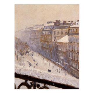 Boulevard Haussmann im Schnee durch Gustave Postkarte