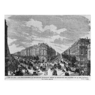 Boulevard Haussmann zwischen verlängert Postkarte