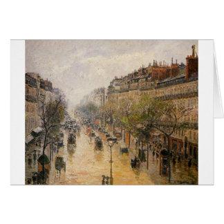 Boulevard Montmartre Frühlingsregen Camille Grußkarte