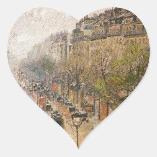 Boulevard Montmartre Frühlingsregen Camille Herz Sticker