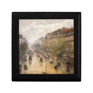 Boulevard Montmartre, Frühlingsregen durch Camille Kleine Quadratische Schatulle