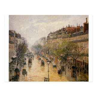 Boulevard Montmartre, Frühlingsregen durch Camille Postkarte