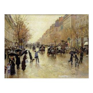 Boulevard Poissonniere im Regen, c.1885 Postkarte
