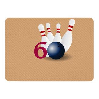 Bowling, Bowler 60. Geburtstags-Einladung 12,7 X 17,8 Cm Einladungskarte