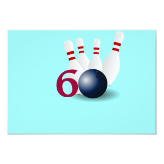 Bowling, Bowler 60. Geburtstags-Einladung 8,9 X 12,7 Cm Einladungskarte
