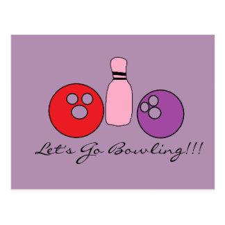 Bowling lädt ein postkarte