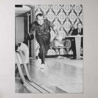 Bowling Präsidenten-Richard Nixon am Weißen Haus Poster