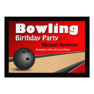Bowling - rote Geburtstags-Party Einladungen