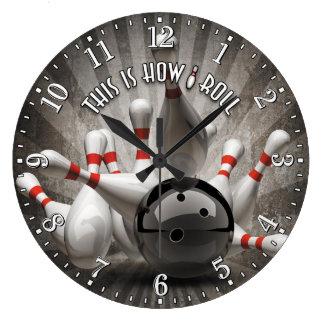 Bowlings-Ball-Button-Mann-Höhlen-Wand-Uhr Große Wanduhr
