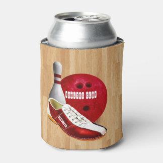 Bowlings-Ball-Schuh und Button mit Ihrem Dosenkühler