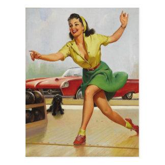 Bowlings-Button herauf Mädchen Postkarte