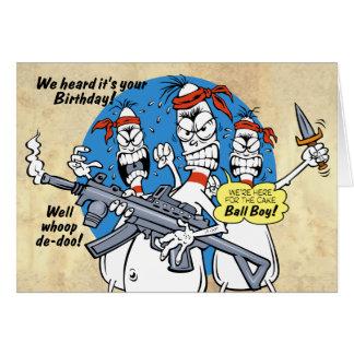 Bowlings-Button-Rache-Geburtstag Grußkarte