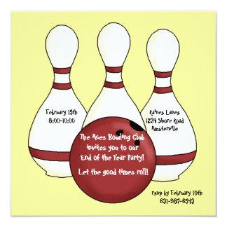 Bowlings-Einladung Quadratische 13,3 Cm Einladungskarte