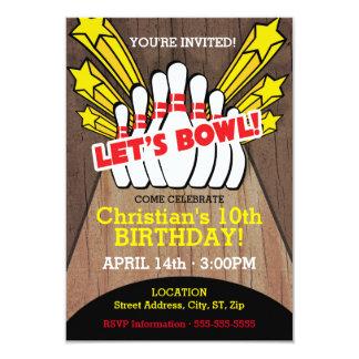 Bowlings-Geburtstags-Karte mit Buttonen 8,9 X 12,7 Cm Einladungskarte