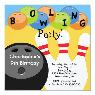 Bowlings-Geburtstags-Party Einladung Retro