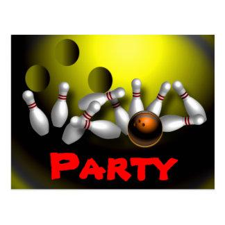Bowlings-Party Einladungen kundengerecht Postkarte