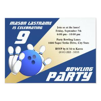 Bowlings-Party-Geburtstags-Blau und Gold 12,7 X 17,8 Cm Einladungskarte