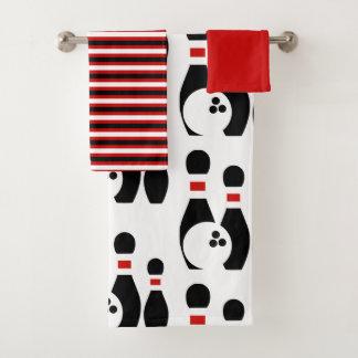 Bowlingsball und Buttone schwarz und rote Streifen Badhandtuch Set