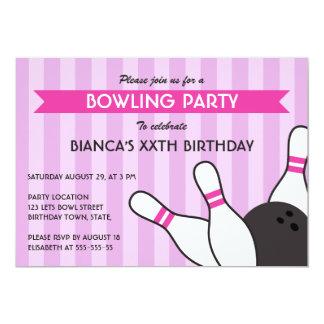 Bowlingsgeburtstags-Party des lila und heißen 12,7 X 17,8 Cm Einladungskarte