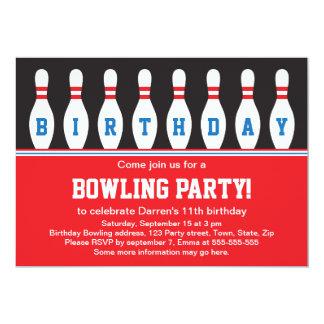 Bowlingsgeburtstags-Party Einladung mit Buttonen