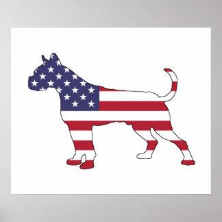 "Boxer ""amerikanische Flagge "" Poster"