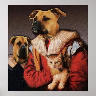 Boxer-Brüder und ihre Katze Poster