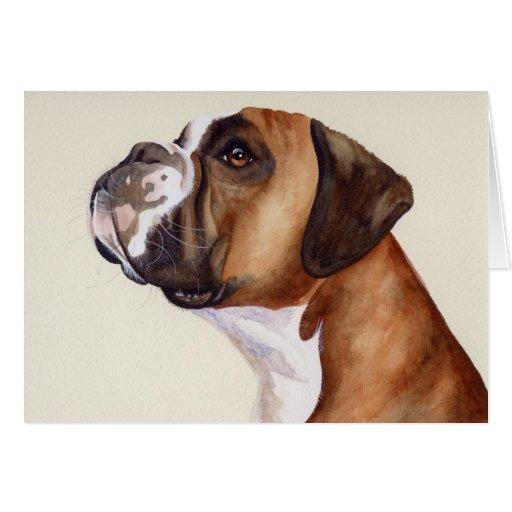 boxer hund gemalt in der wasserfarbe gru karten zazzle. Black Bedroom Furniture Sets. Home Design Ideas