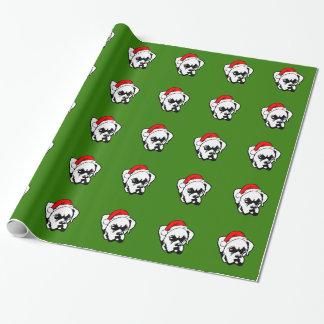 Boxer-Hund mit WeihnachtsWeihnachtsmannmütze Geschenkpapier